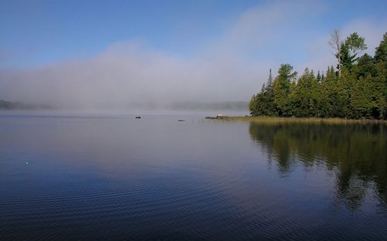 Photo free lake, haze, shore