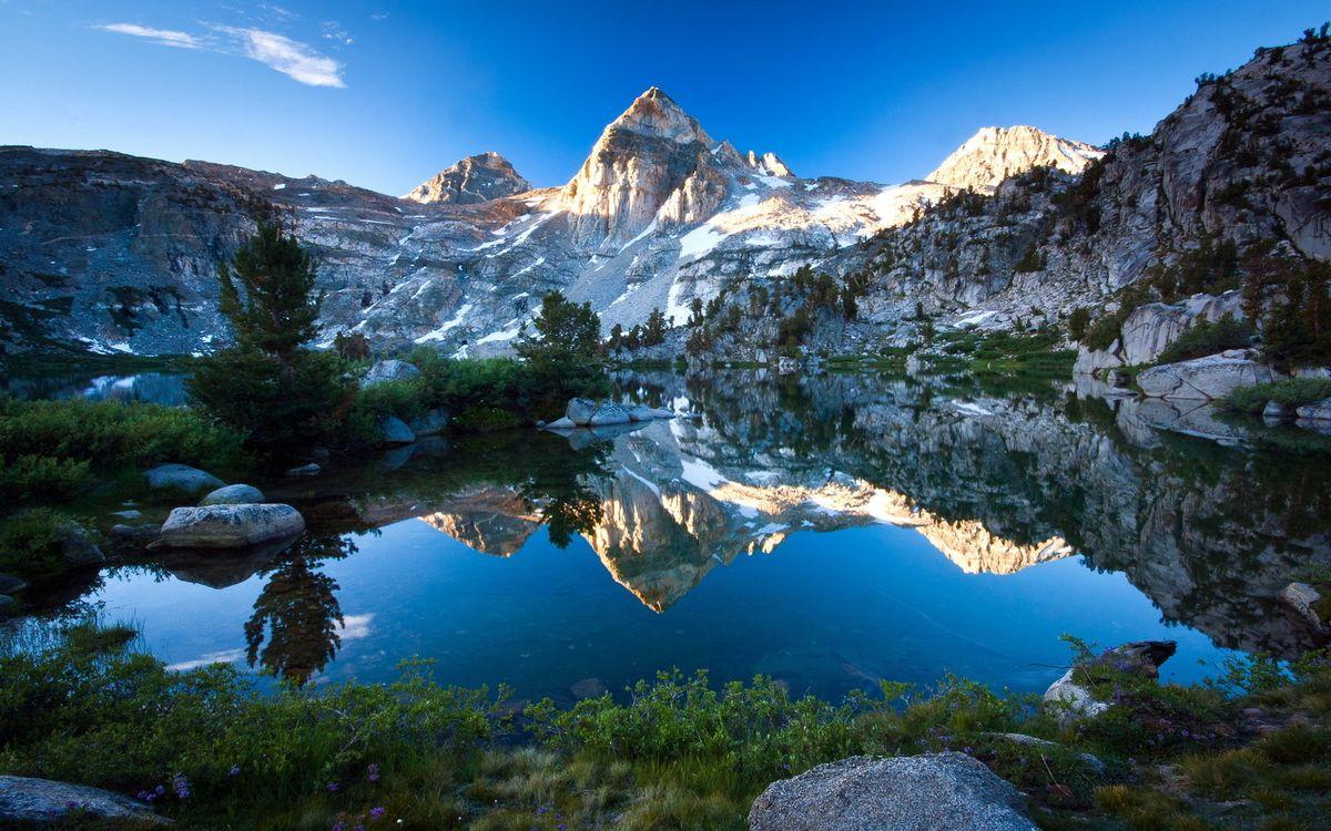 Фото бесплатно озеро, гладь, отражение, трава, деревья, горы, скалы, камни, небо, природа