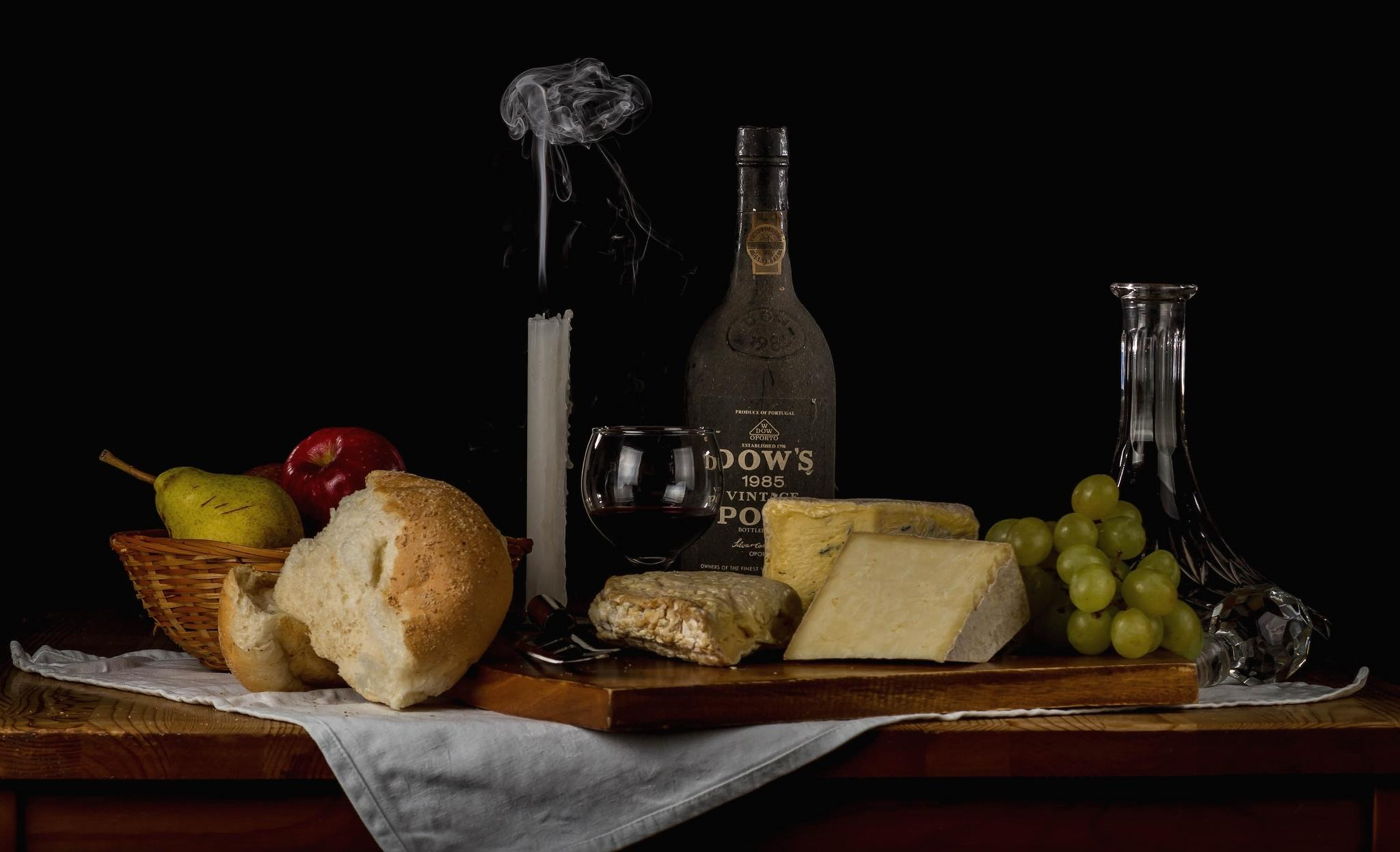 Обои сыр, натюрморт, хлеб, фрукты