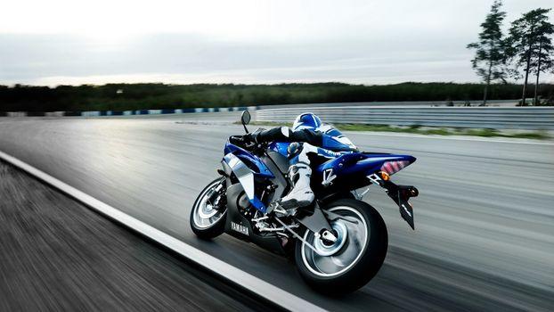 Фото бесплатно ямаха, синяя, мотоциклист