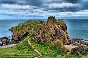 Бесплатные фото Абердиншир,Шотландия,замок,остров море,Замок Данноттар,Стонхейвен