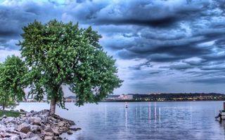 Фото бесплатно берег, камни, деревья, река, горизонт, город, огни, небо, облака