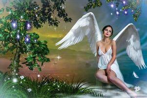 Фото бесплатно девушка, ангел, фотосессия