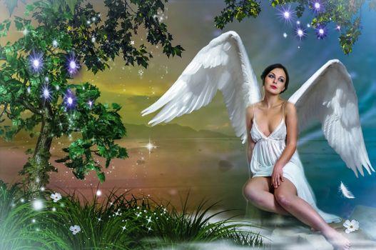 Бесплатные фото девушка,ангел,фотосессия
