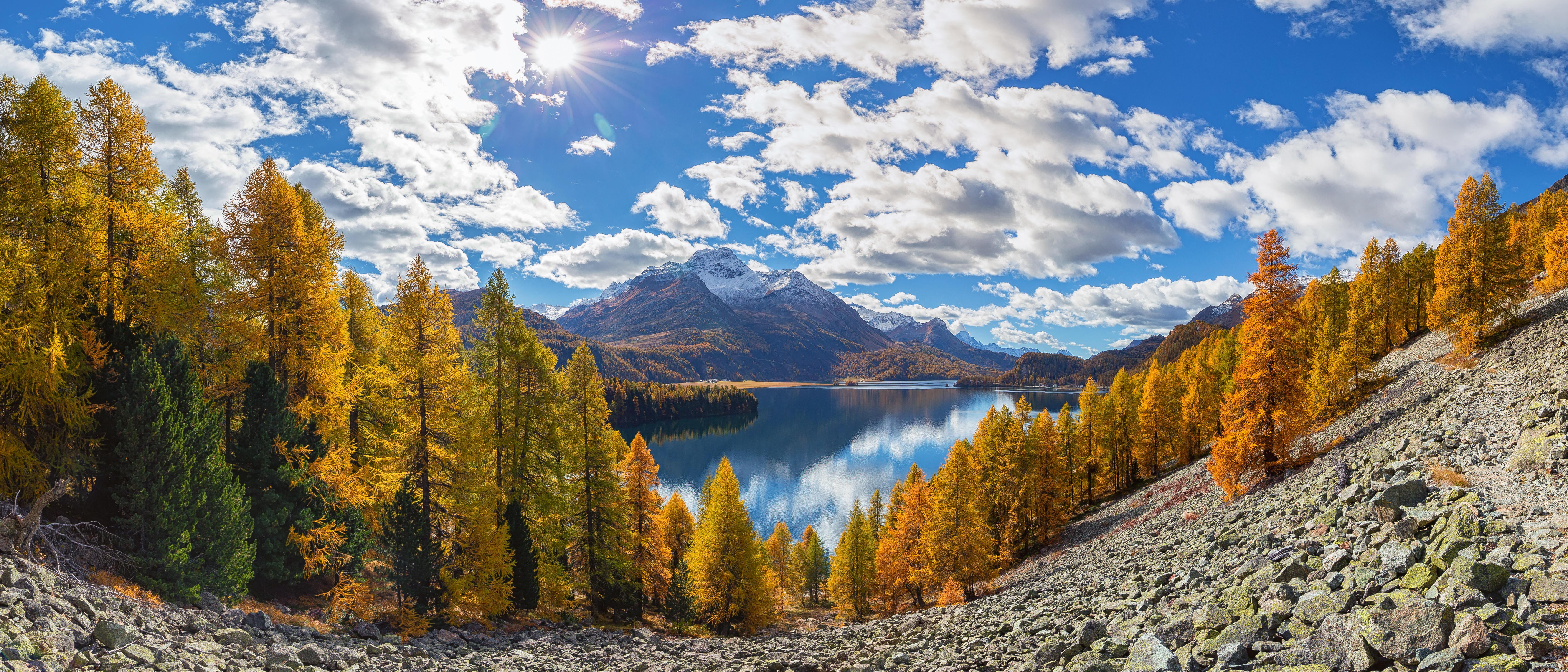 обои Граубюнден, Швейцария, панорама, осень картинки фото