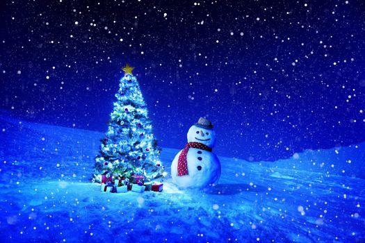 Заставки Снеговик, ёлка, шляпа