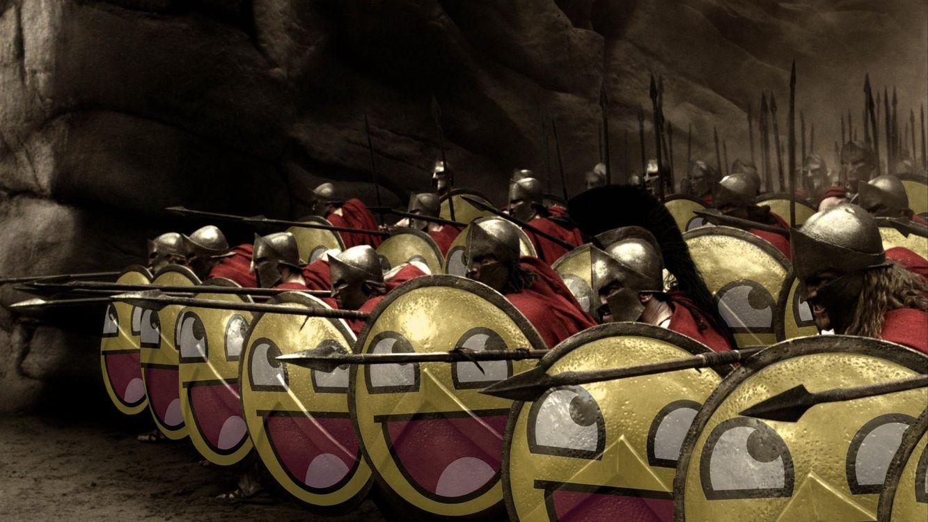 Фото бесплатно 300 спартанцев, щиты, смайлики, юмор
