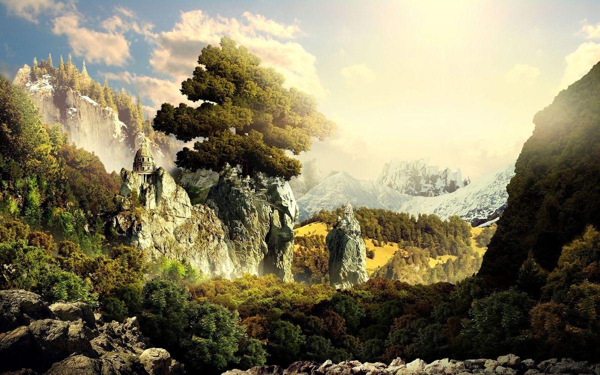 Фото бесплатно горы, скалы, вершины, снег, камни, деревья, небо, облака, пейзажи