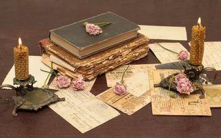Бесплатные фото книги,розы,свечки,письма,старые