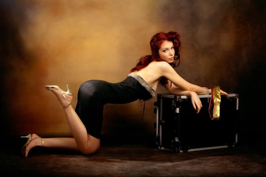 Заставки девушка, красотка, чемодан