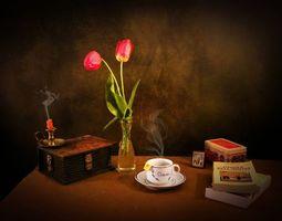 Бесплатные фото натюрморт,шкатулка,свеча,чашка,чай,книги,цветы