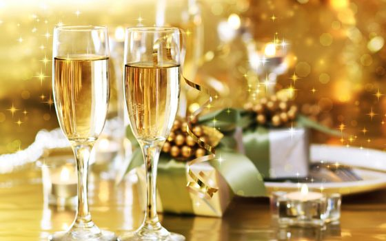 Фото бесплатно новый год, фужеры, шампанское