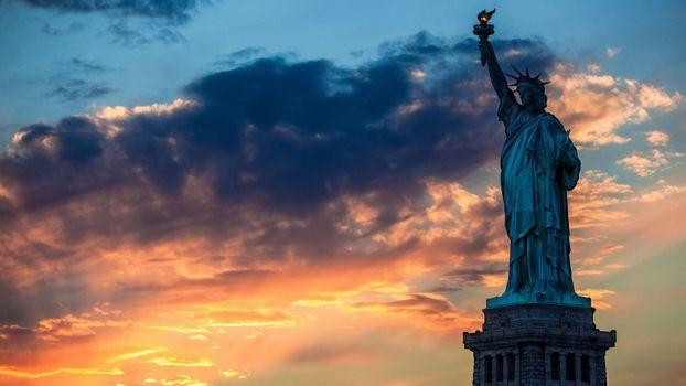 статуя свободы, Нью-Йорка, США, Америка, закат