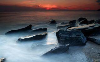 Фото бесплатно берег, волны, дымка
