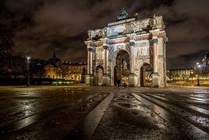Заставки Лувр,Париж,Франция,ночь,огни