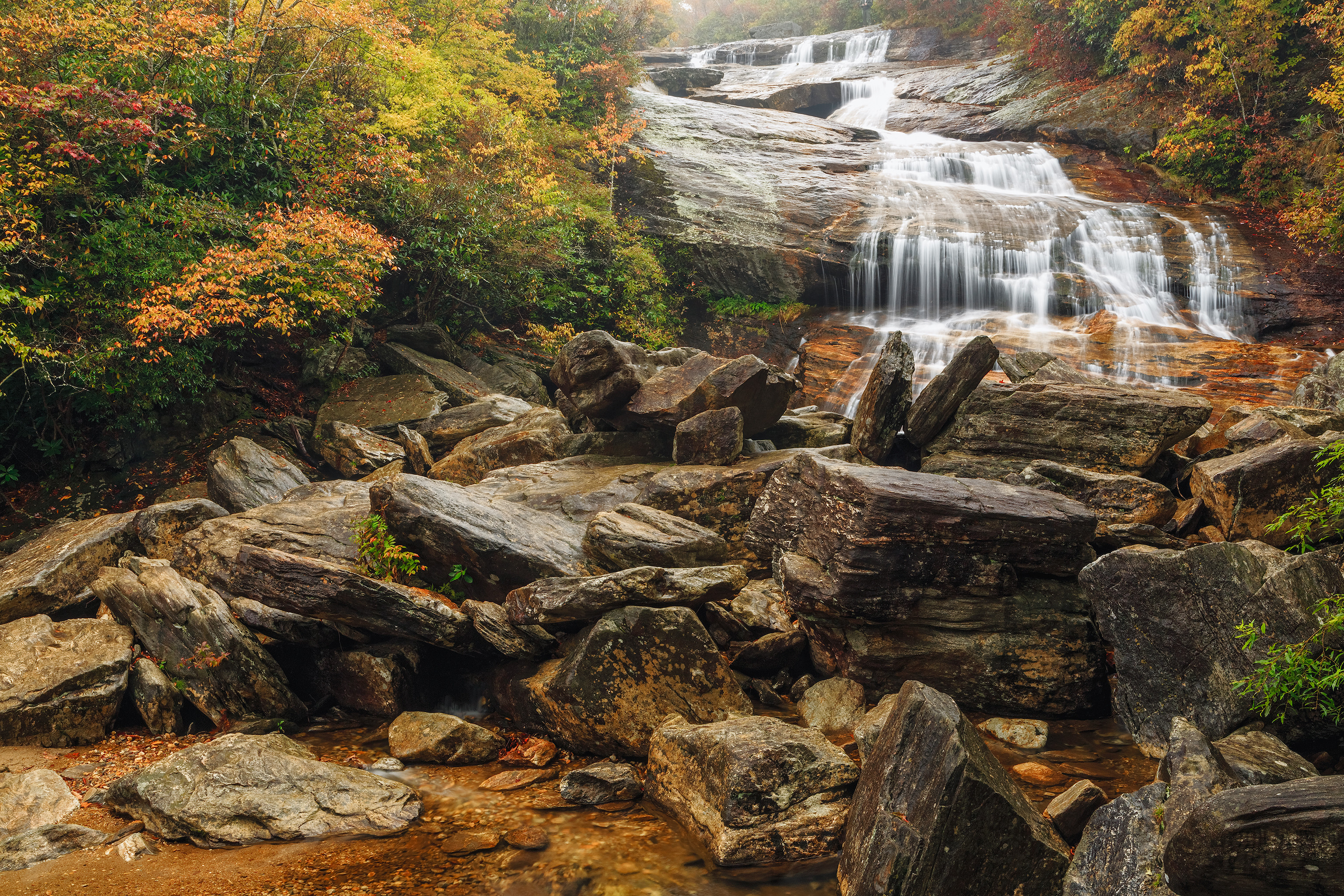 обои Second Falls, Северная Каролина, осень, водопад картинки фото