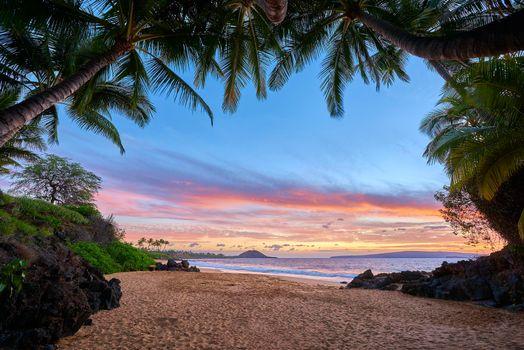 Бесплатные фото закат,море,пальмы,пляж,рай,пейзаж