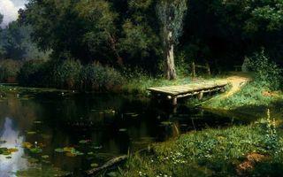Бесплатные фото мостик,озеро,лес,картина