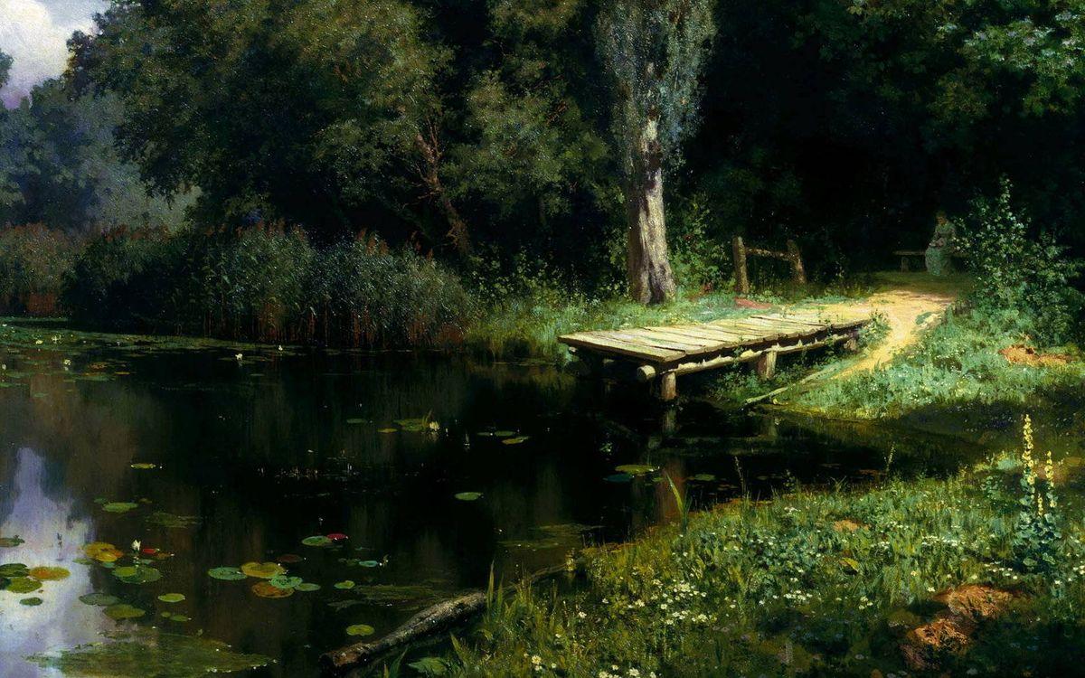 Фото бесплатно мостик, озеро, лес - на рабочий стол