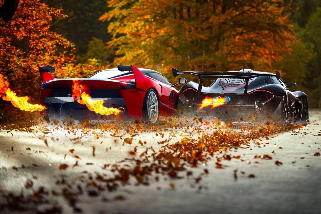 Фото бесплатно спортивные тачки, выхлоп, огонь, гонка, загородная дорога, трасса, листопад, машины - скачать на рабочий стол