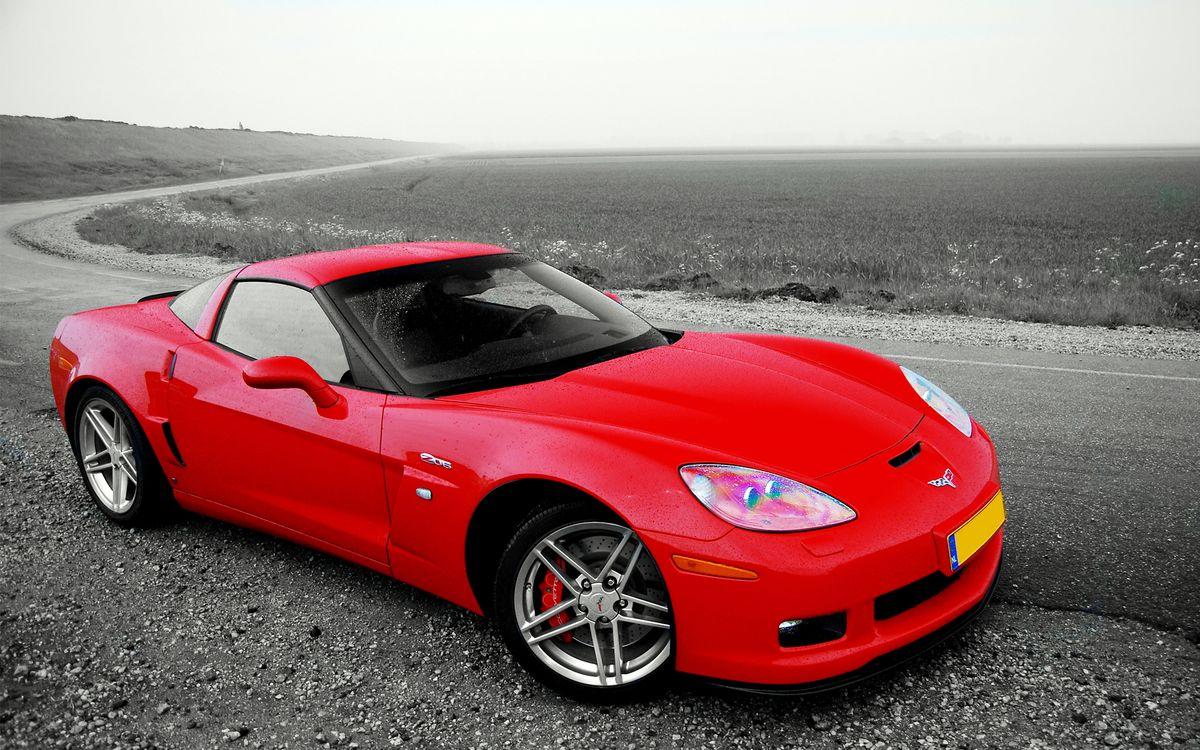 Фото бесплатно шевроле корвет, красная, фары, диски, суппорт, дорога, машины