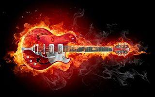 Обои гитара, электронная, красная, огонь, гриф, струны