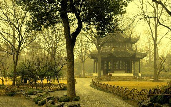 Фото бесплатно парк, дорожки, камни, деревья, оградки, строение, китай
