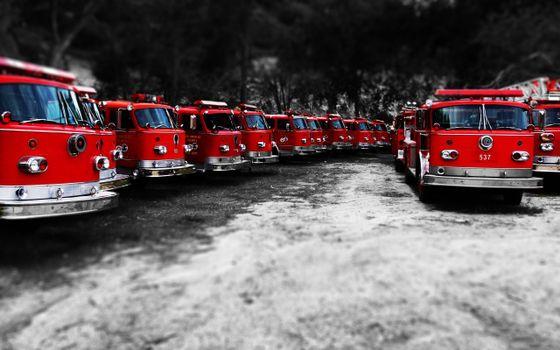 Фото бесплатно стоянка, пожарные машины, красные