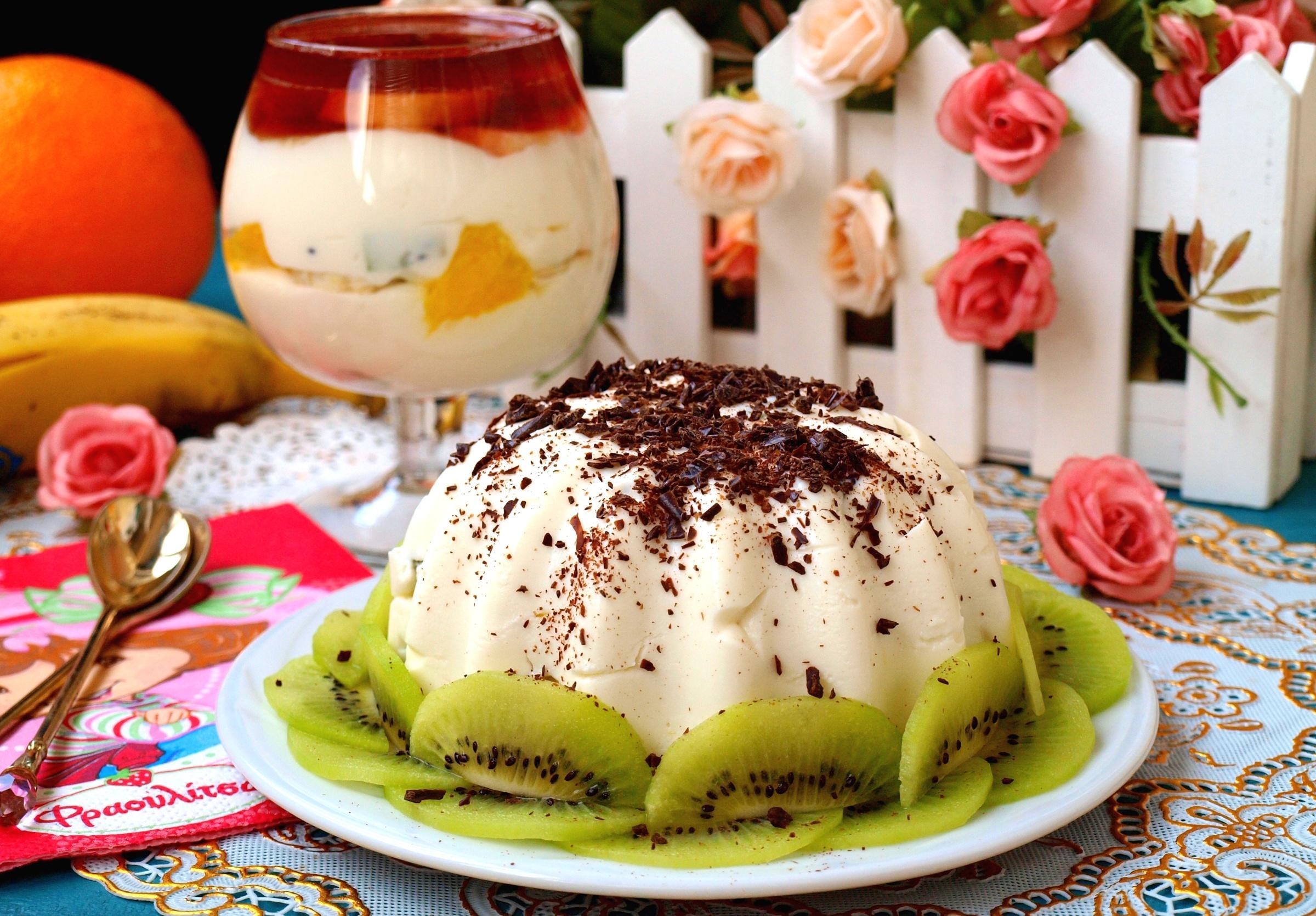 Обои десерт, шоколад, киви, пудинг