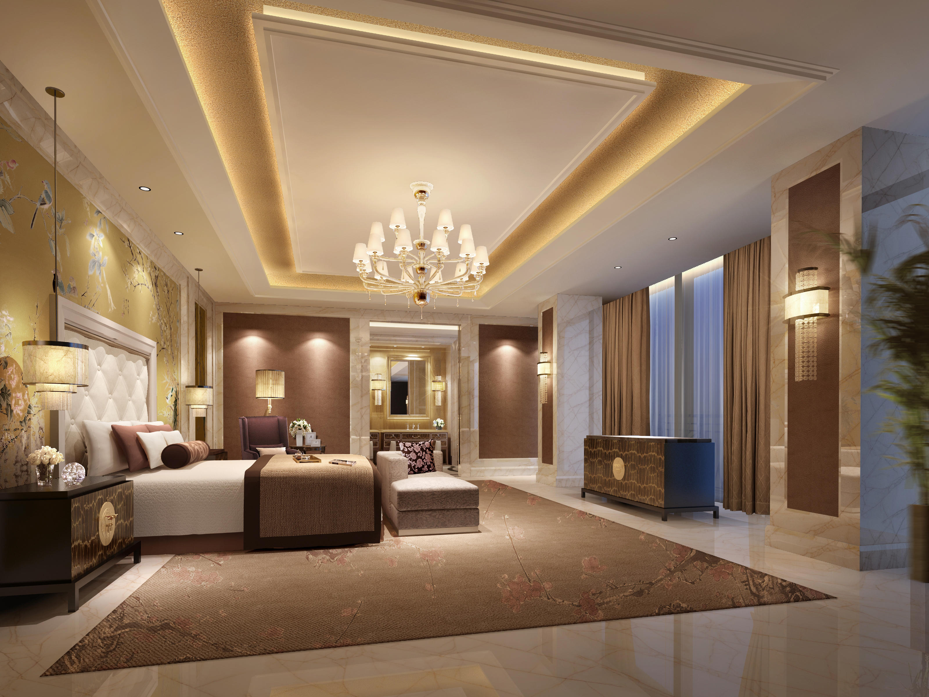 Обои интерьер, спальня, комната, вилла