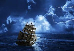 Заставки море, шторм, молния