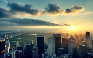 Фото бесплатно крыши, солнце, небоскребы