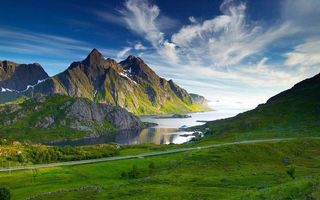 Бесплатные фото море,побережье,горы,скалы,снег,дорога,столбы