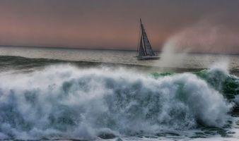Фото бесплатно море, парусник, волны