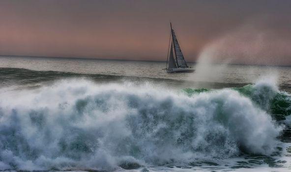 Заставки море, парусник, волны