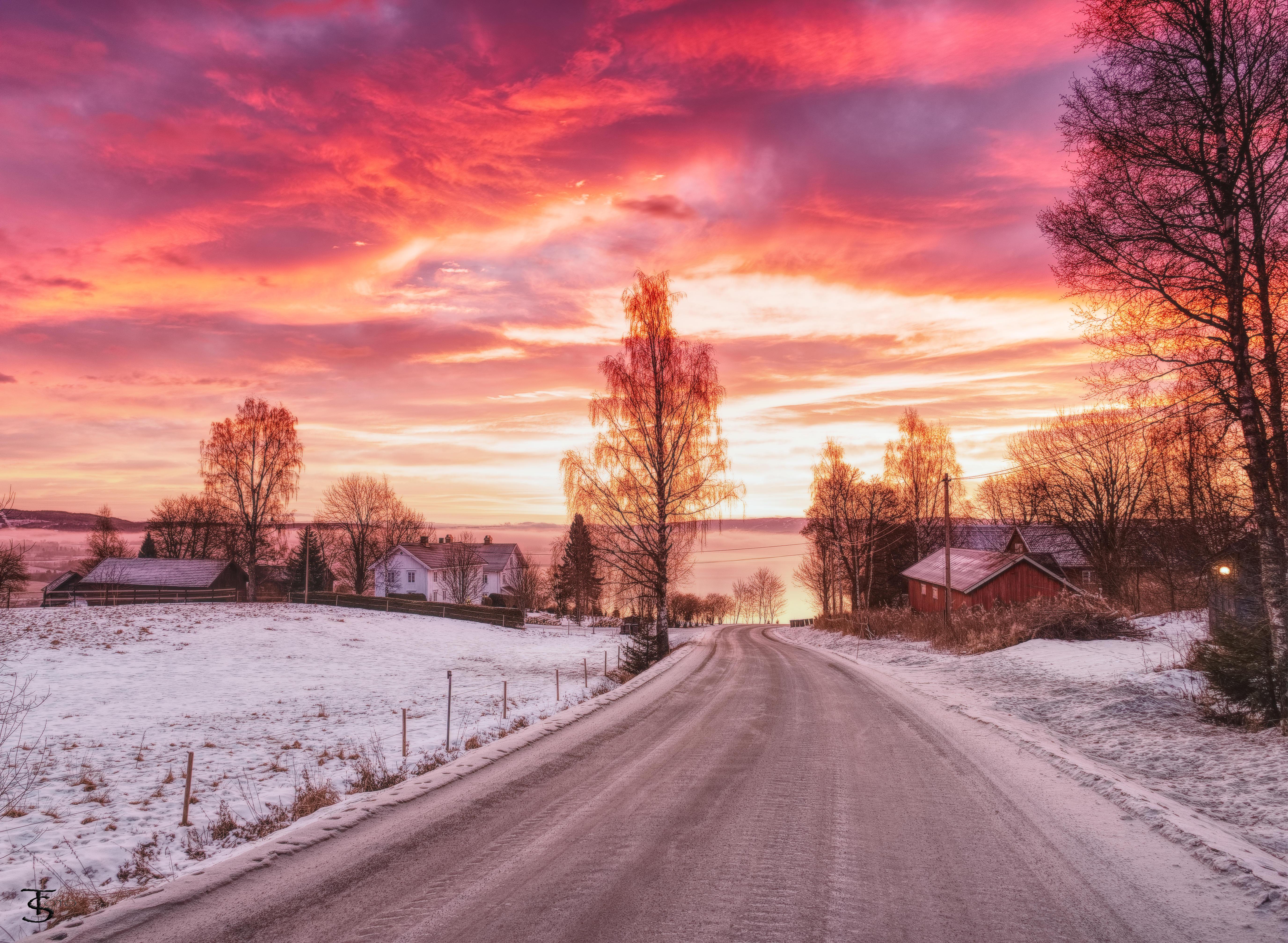 дорога закат зима загрузить