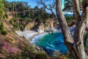 Бесплатные фото Mcway Falls, Pfeiffer State Park, Big Sur, море, берег, скалы, водопад
