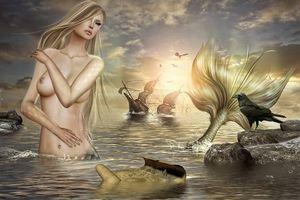 Фото бесплатно закат, море, тонущий корабль, русалка, ворона, ворон, фантастика, арт, эротика