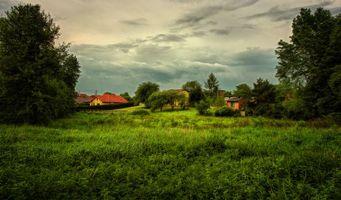 Бесплатные фото поле,дома,деревья,пейзаж
