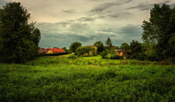 Фото бесплатно пейзаж, поле, дома