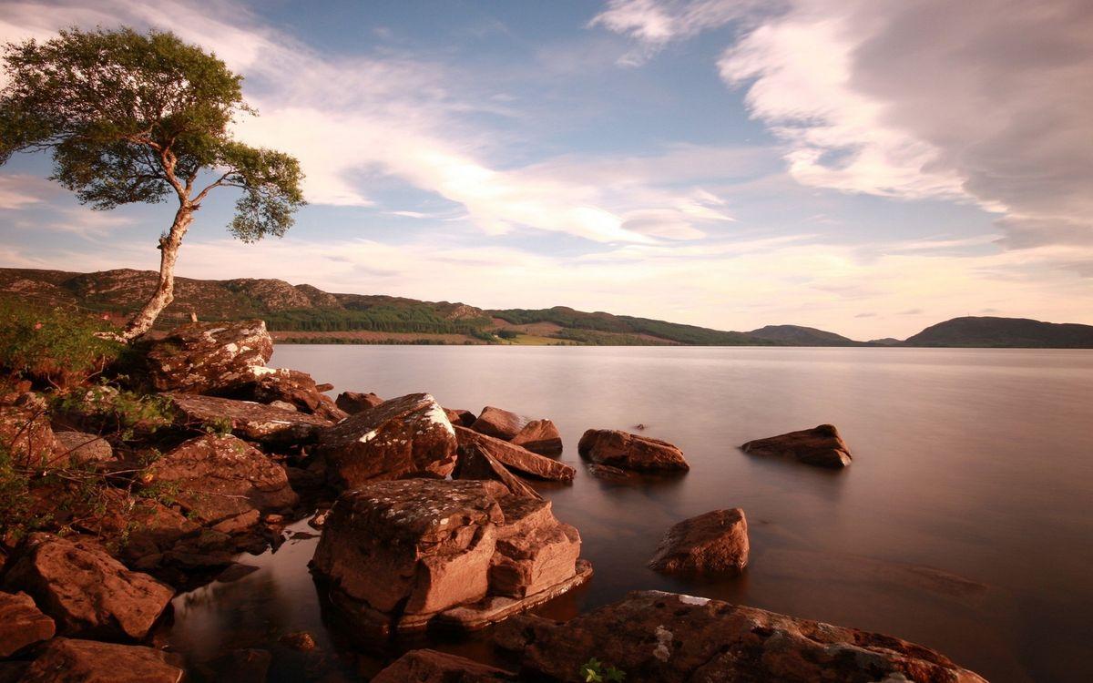 Фото бесплатно берег, холмы, трава, дерево, камни, озеро, небо, облака, природа