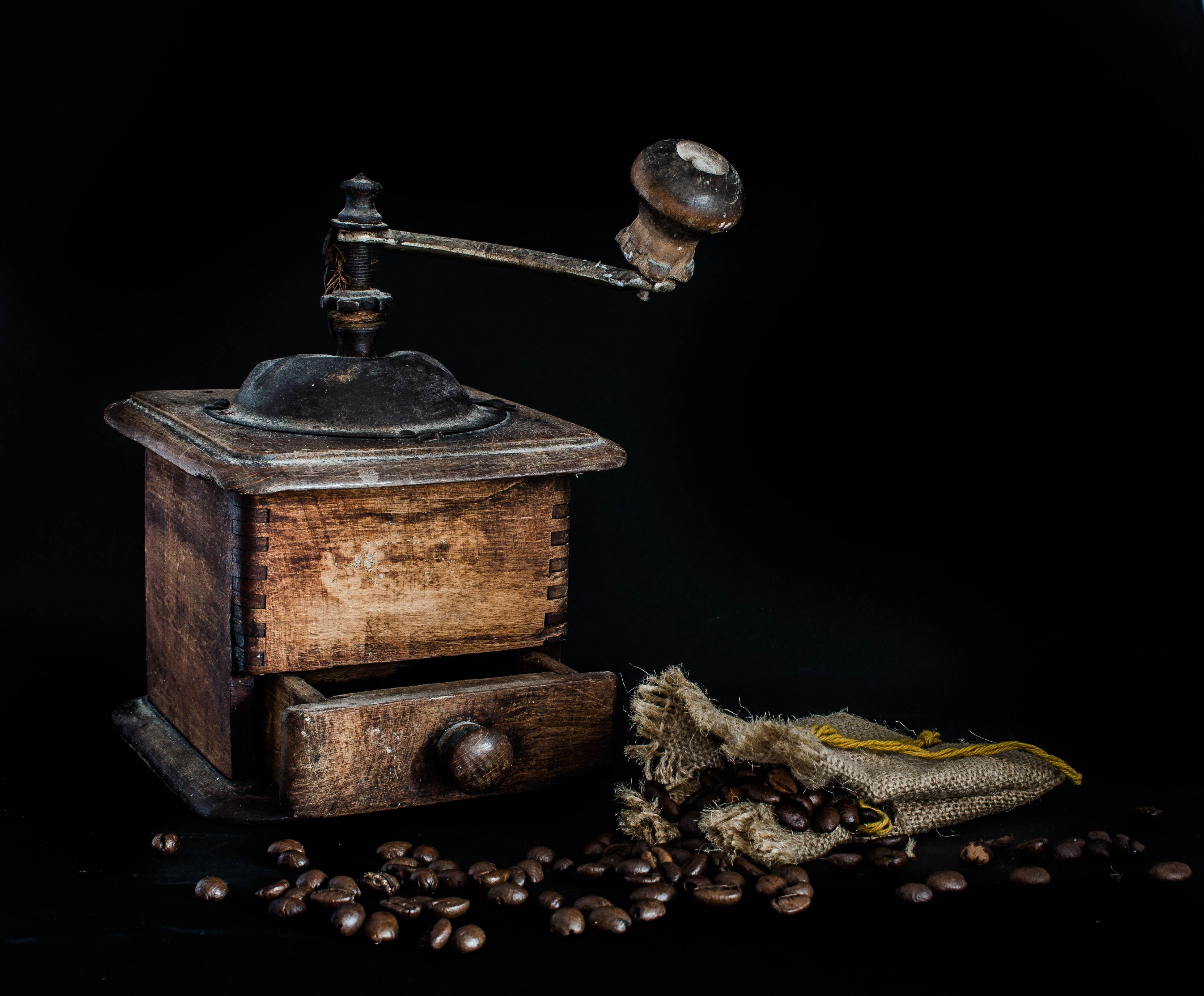 кофе, кофемолка, натюрморт