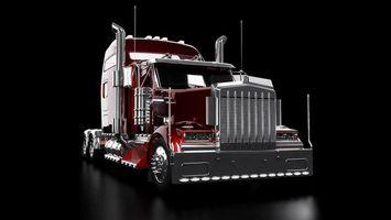 Бесплатные фото грузовик, тягач, кабина, решетка, выхлоп, антенны, хром