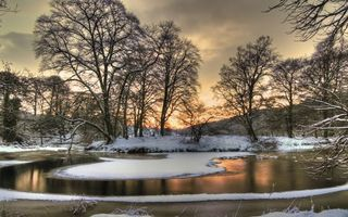 Фото бесплатно зима, озеро, лед, снег, деревья, небо