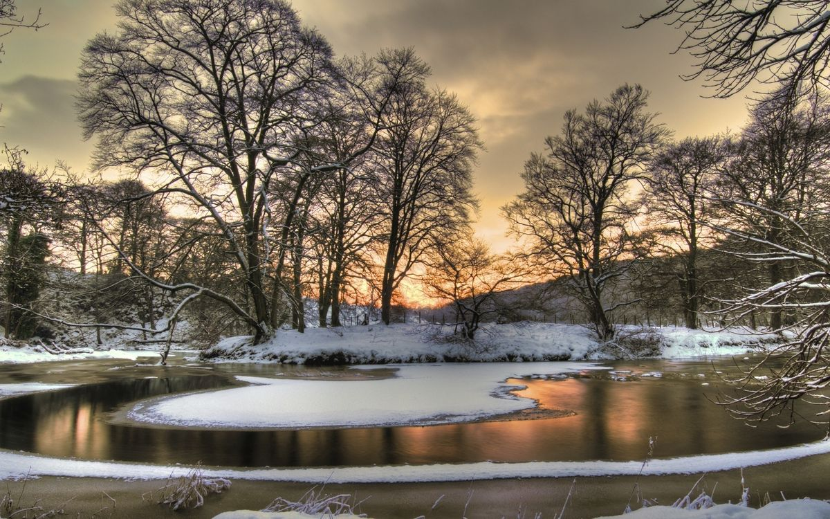 Фото бесплатно зима, озеро, лед, снег, деревья, небо, природа