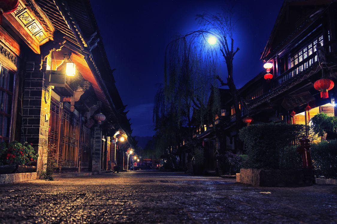 Фото бесплатно Лицзян, Юньнань, Китай, Lijiang, Yunnan, China, ночь, улица, фонари, город