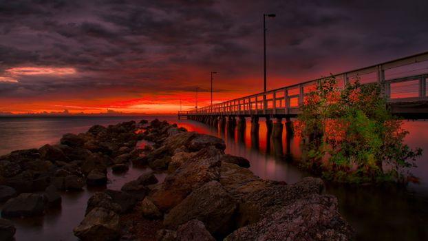 Заставки янтарный закат солнца, мост