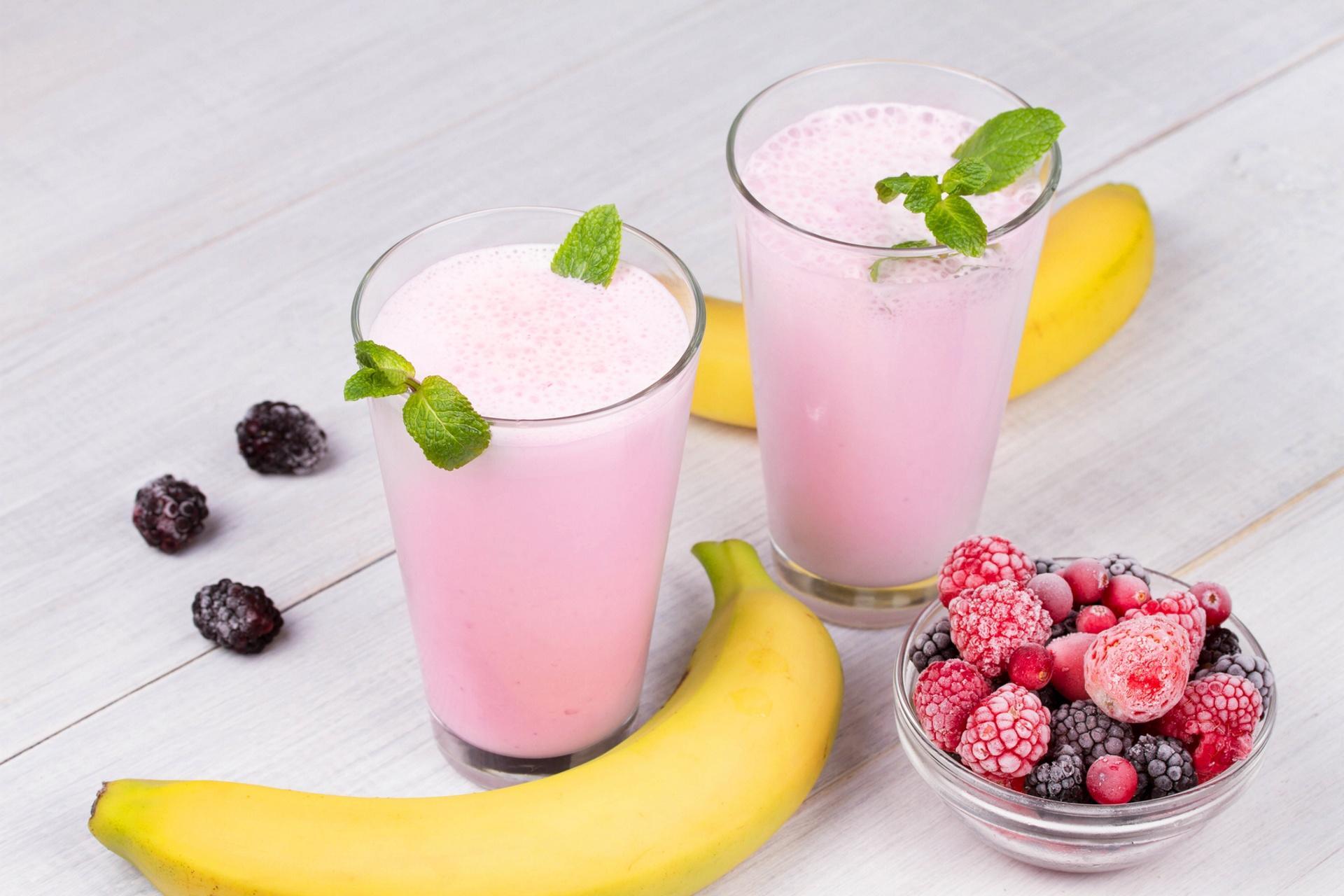 Обои напиток, смузи, банан, малина