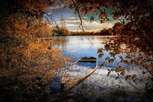 Фото бесплатно лодка, пейзаж, пруд