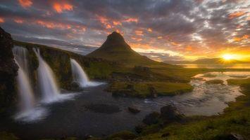 Фото бесплатно водопад, гора, скала, закат солнца, река